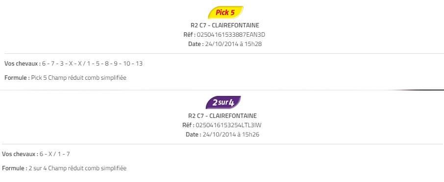 Pick 5 rapport de 1 569 € 90