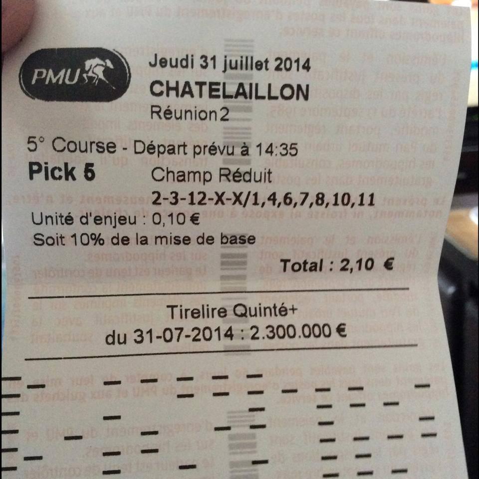 Pick 5 à 74,70 € jouer à 10 % soit 7,47 € de gains