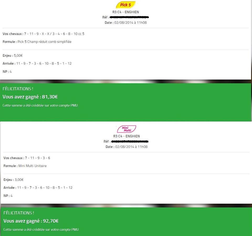 Mise : 8 € - Gains : 174 - Bénéf : 166 €