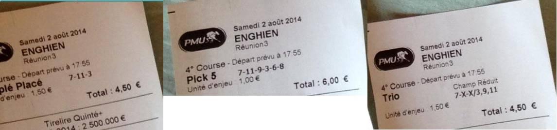 Mise : 15 € - Gains : 275,60 € - Bénéf : 260,60 €