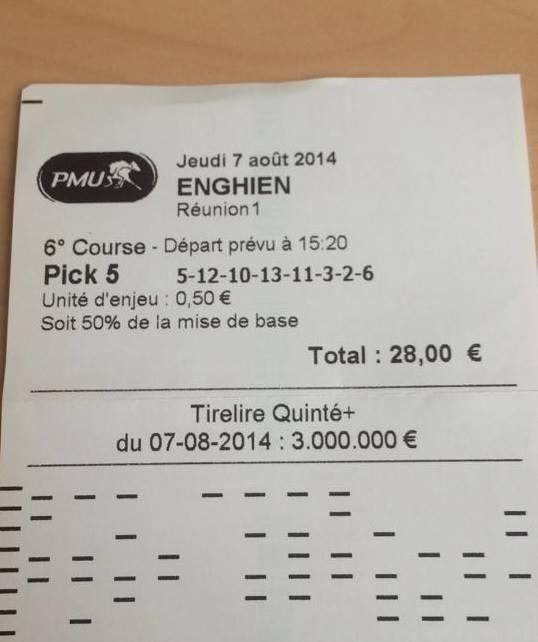 Pick 5 à 423,50 € jouer à 50 % soit 211,75 € de gains