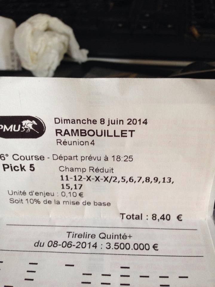 Pick 5 à 1 569,70 € toucher à 10% soit 156,97 €