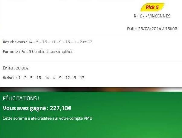 Pick 5 à 454,20 € toucher à 50 % soit 227,10 € de gains