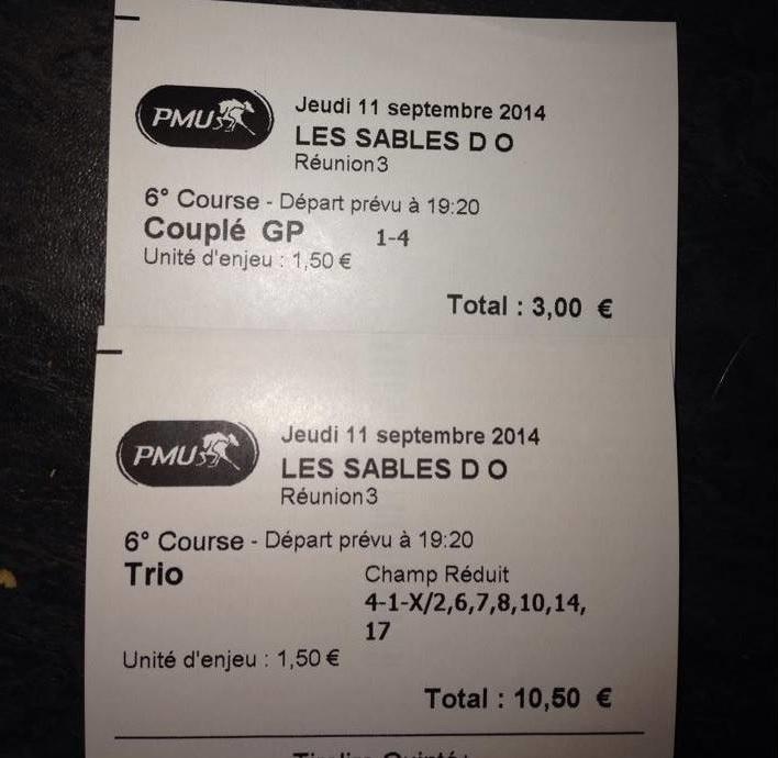Couplé placé à 14,40 € et le trio à 154,20 €
