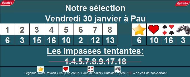 Sélection quinté + à Pau