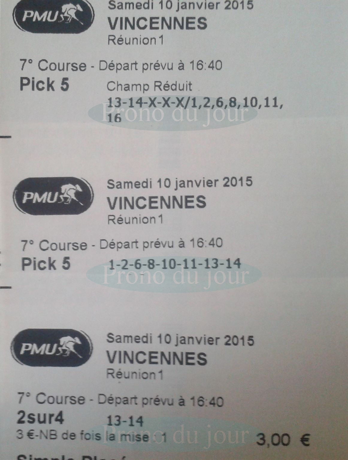 Ticket gagnant pick 5